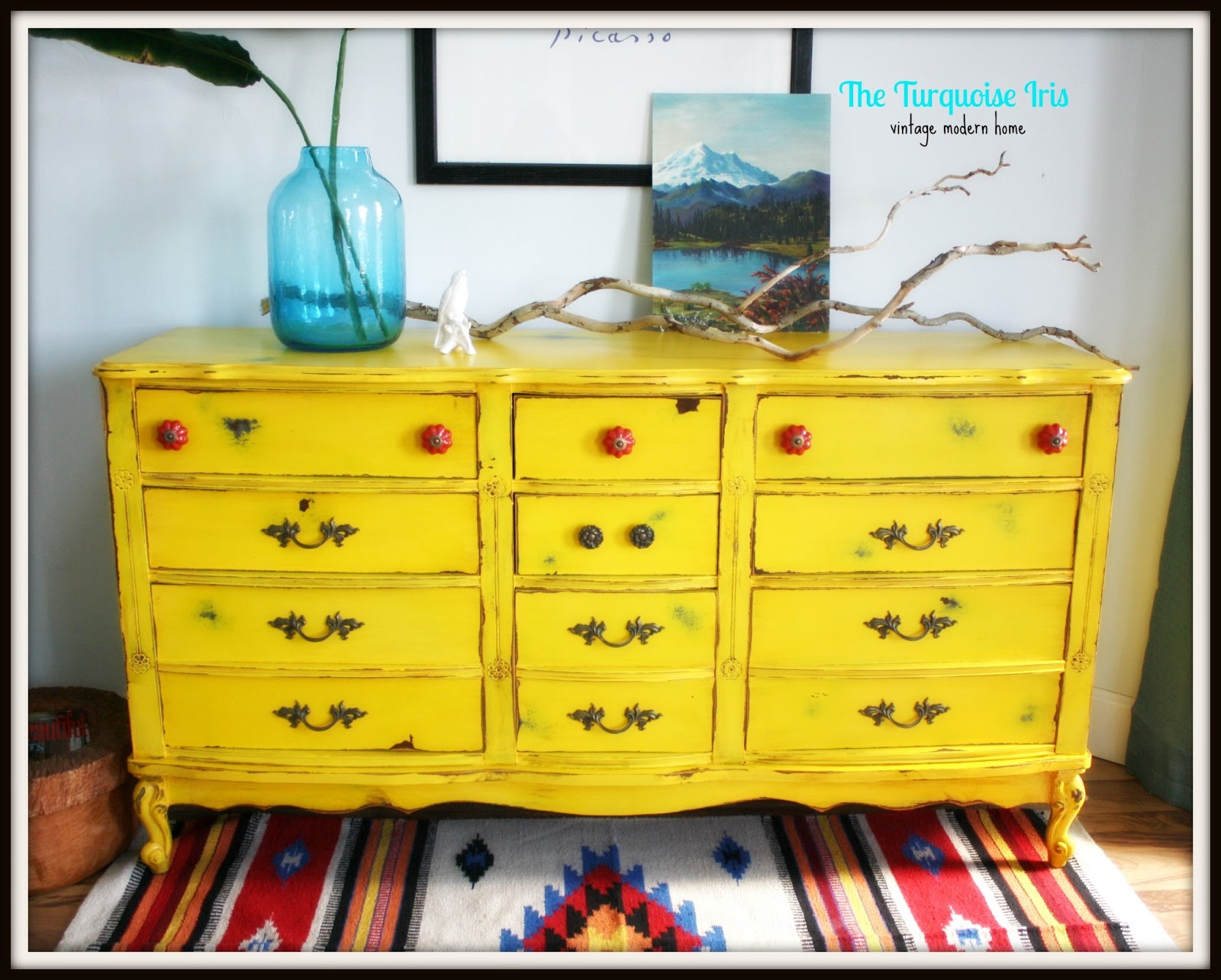 Vintage Yellow Distressed French Dresser