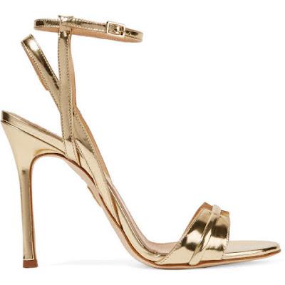 sandalia tiras dourada