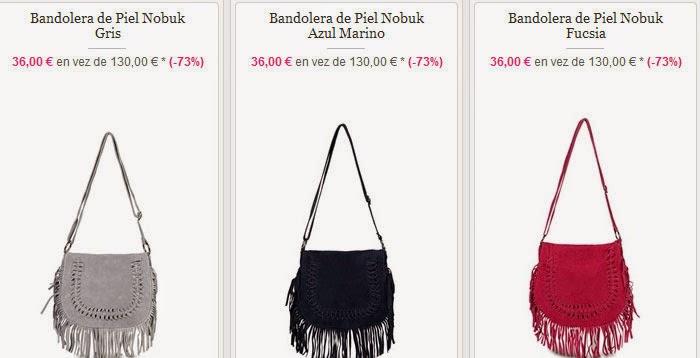 Bandoleras baratas en piel de Nobuck por sólo 36 euros.