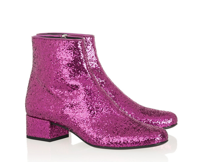 Saint Laurent glitter finished leather ankle boots