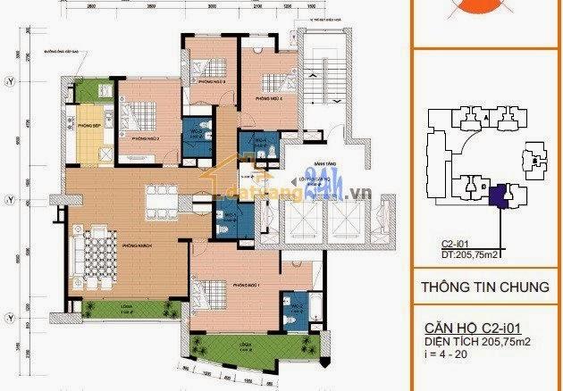 mặt bằng thiết kế chi tiết căn hộ C2- i01