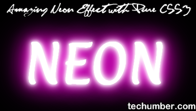 Amazing Neon Text Effect With Pure CSS3(techumber.com)