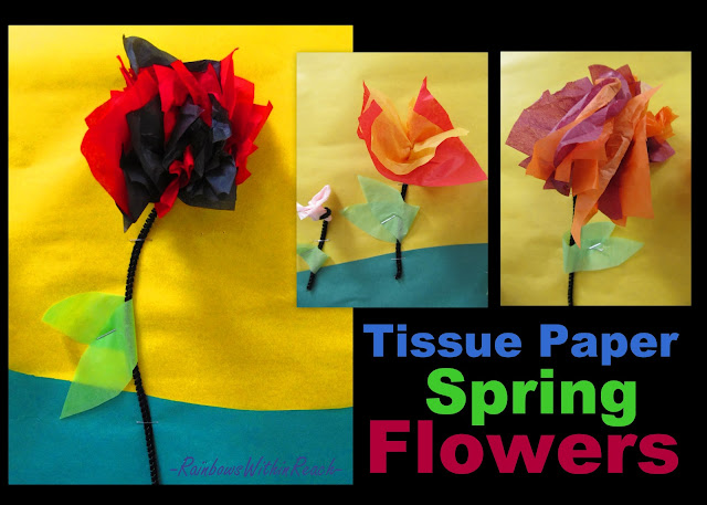 photo of: tissue paper flowers, flower craft for preschool, spring art project