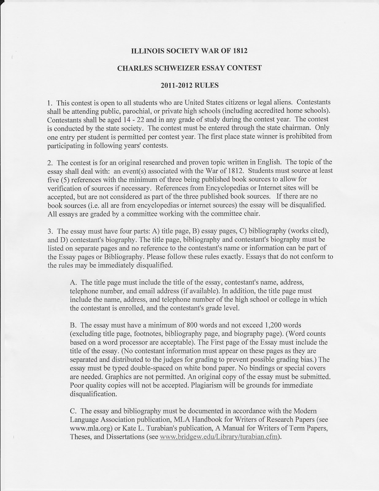 tazewell county museum  the illinois society war of 1812 will be having a charles schweizer essay contest and here are the 2011 2012 rules