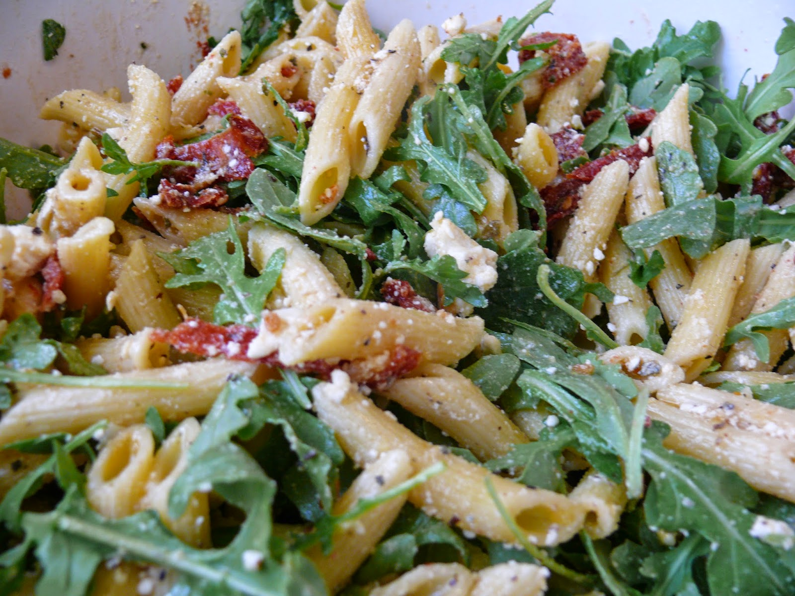 Imperfect & Fabulous: Arugula, Sun Dried Tomato, & Feta Pasta Salad