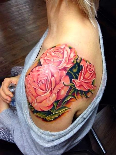 Flower Tattoo on Shoulder for Women
