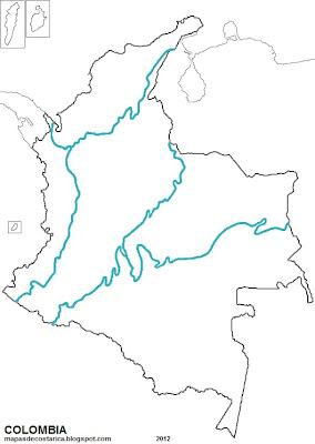 Mapa de las regiones naturales de COLOMBIA, blanco y negro