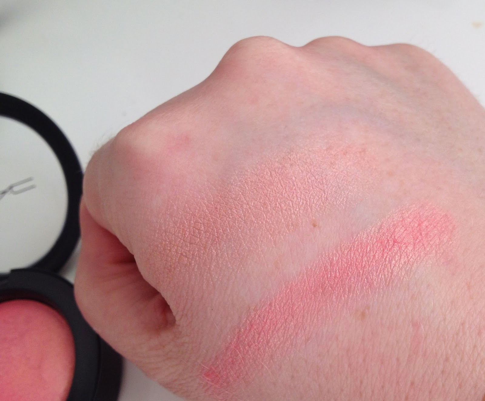MAC Mineralize Blush in Petal Power & MAC Skinfinish in Stereo Rose comparison swatches