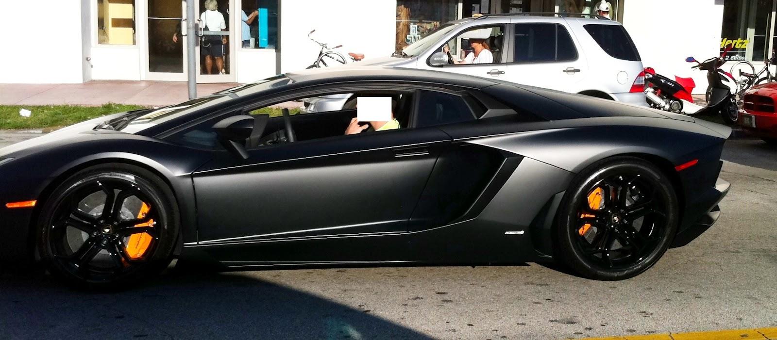 Matte Black Lamborghini Aventador - in Miami Beach ...
