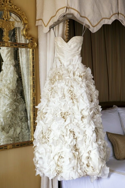 rosette wedding dress