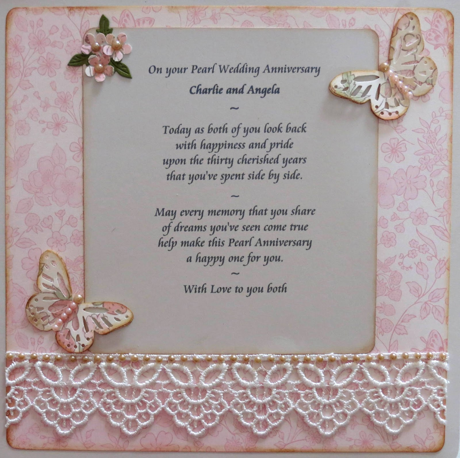 Pearl wedding anniversary cards for parents