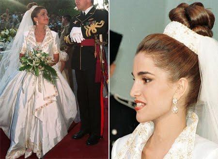Кралицата на Йордания Рания в булчинска рокля