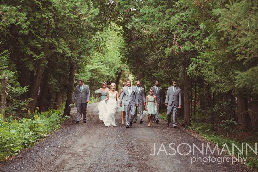 Door County wedding party in teal and gray. Photo by Jason Mann Photography, 920-246-8106, www.jmannphoto.com