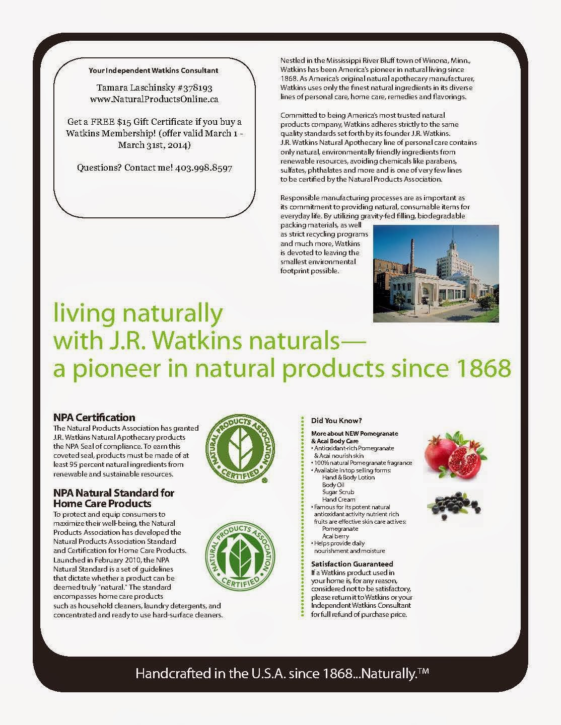 JR Watkins March Specials Catalogue Canada USA Ordering Products