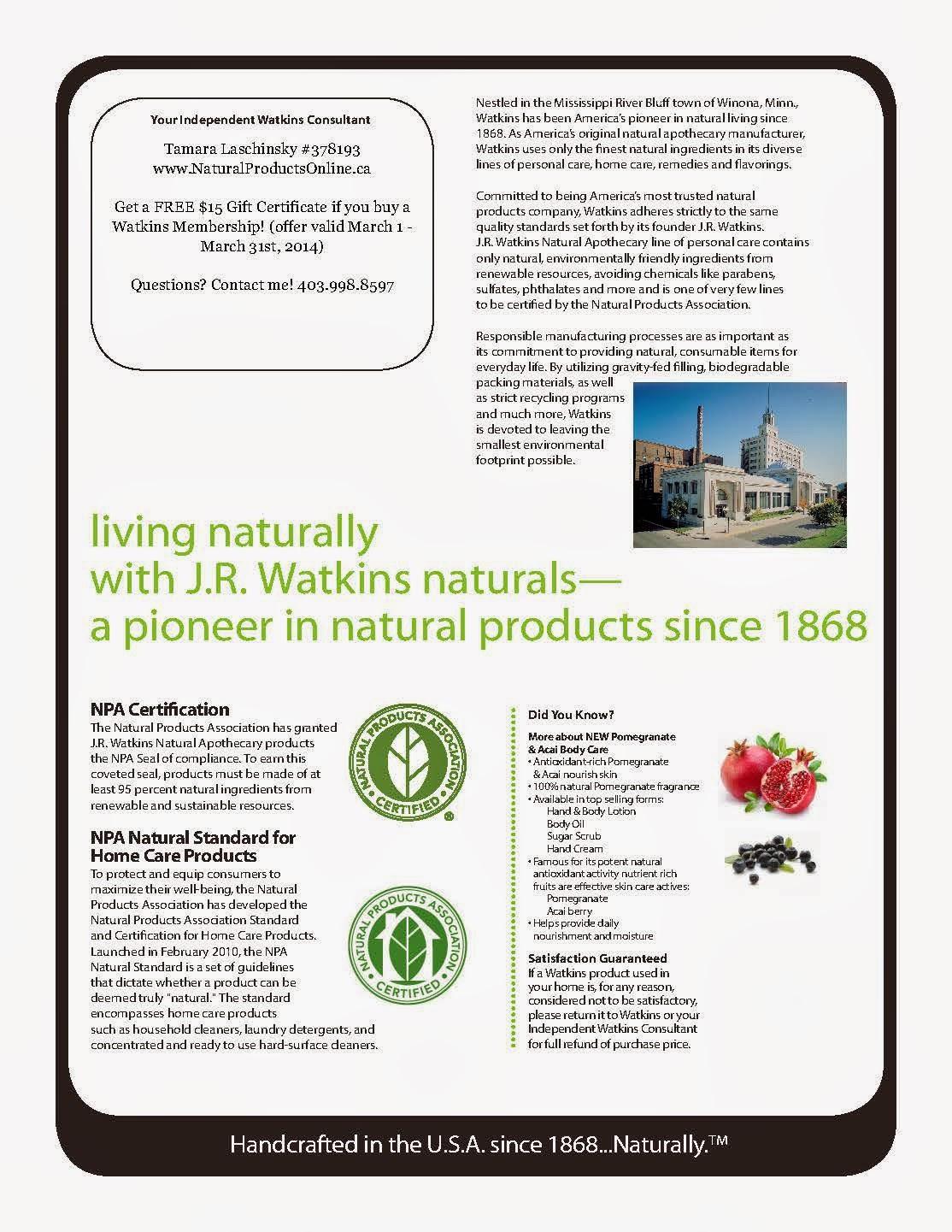 JR Watkins March Specials Catalogue Canada USA Ordering Products