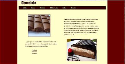Captura de la web Chocolate