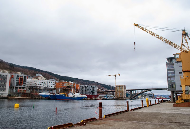 Picture of docks in bergen and a bridge