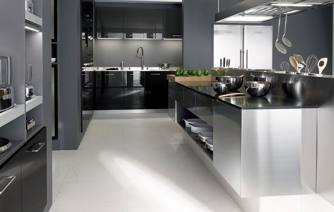 Cuisine design inox for Cuisine amenagee en u