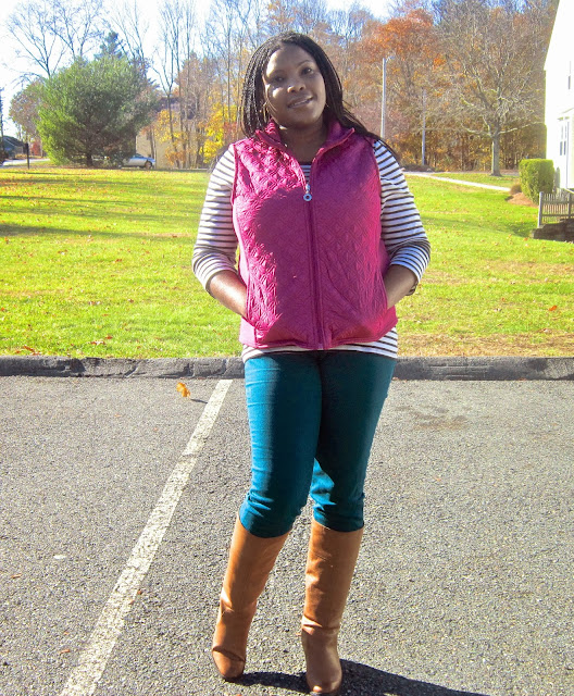 Stripes, Nine West Counter Boots, The Limited Skinny Jeans