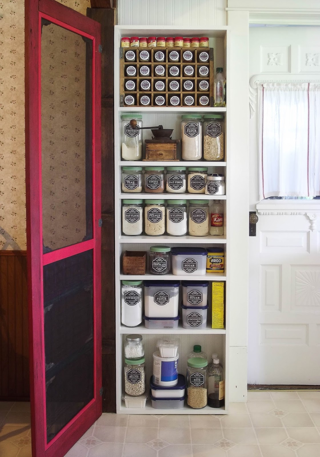 The Olde Farmhouse on Windmill Hill Farmhouse Kitchen Phase 2 ~ DIY Pantry w/ Antique Screen Door : old pantry cabinet - Cheerinfomania.Com