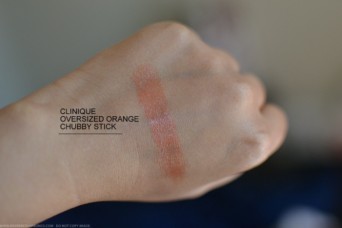 Clinique Oversized Orange Chubby Stick Moisturizing Lip Colour Balm - Review Swatches Photos FOTD