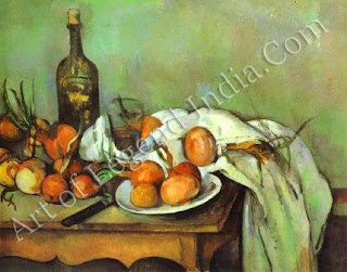 Still-life with Onions, Cezanne painted almost 200 still-lives. Making repeated use of  small set of household objects, along with everyday fruit and vegetables, he created an infinitely varied series of compositions.