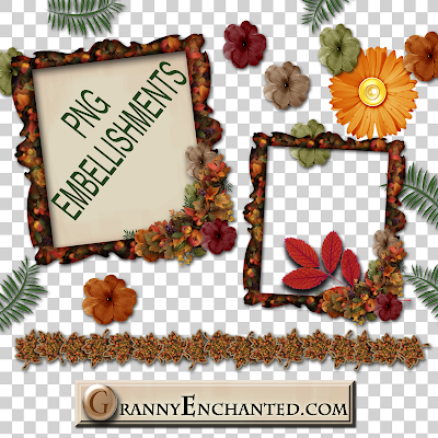 Free digital scrapbook Autumn Flames Element Pack