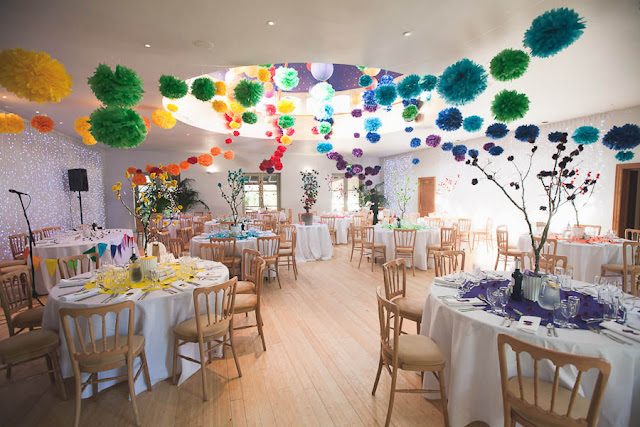 multicolored wedding pompoms