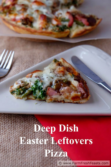 A recipe for deep dish pizza with ham, green beans and sweet potatoes sandwiched between a mashed potato-spread pizza crust and a layer of provolone cheese. Turn those leftovers into a Friday Night Pizza!