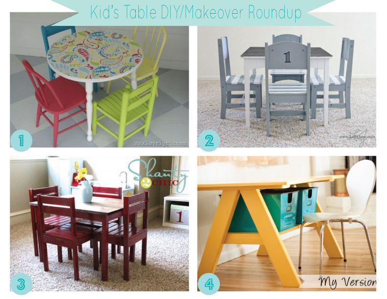 Mini Kid's Table DIY/Make-over Roundup - The Thrifty Abode