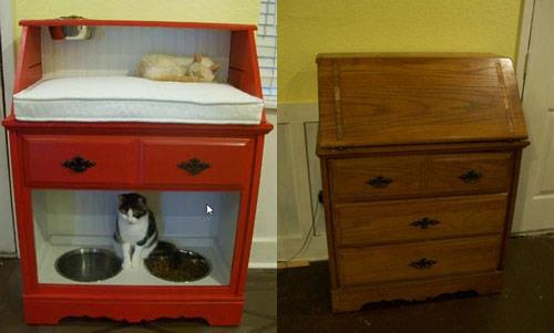 reciclagem -  caminha de gato com móvel antigo
