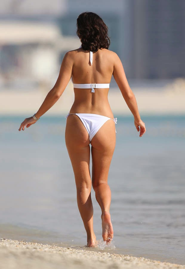 Lucy Mecklenburgh wears a White Bikini at Dubai, UAE on March 29, 2014