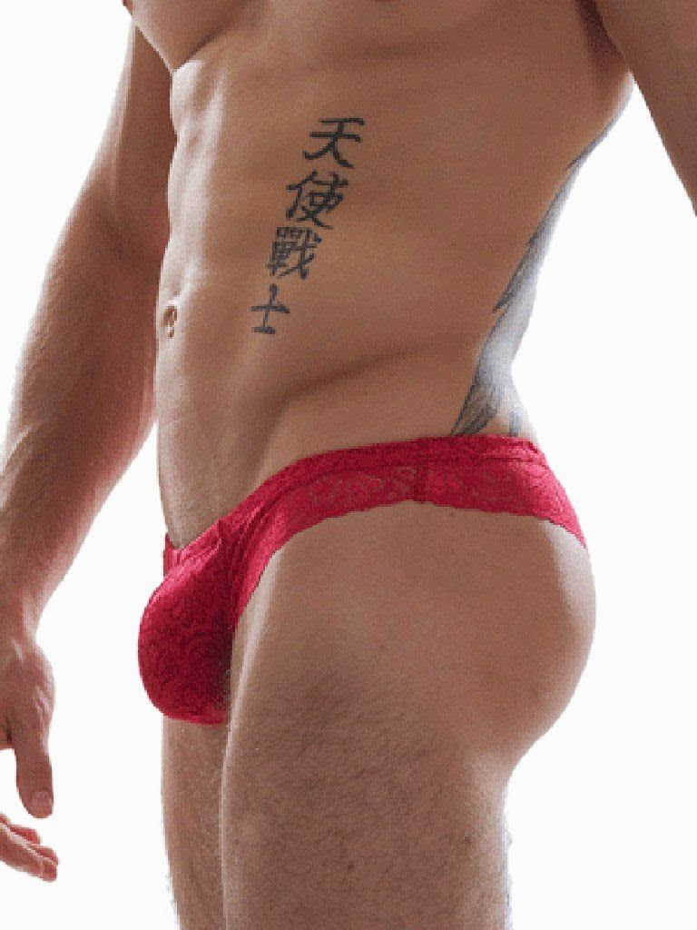 GBGB Wear Raffy Slip Lace Mens Underwear Red Gayrado