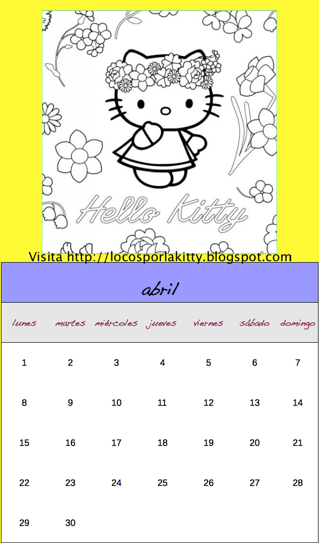 Calendario Hello Kitty 2013 completo