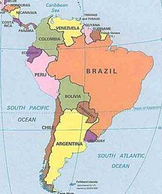 Fontes de Geografia Mapa Poltico da Amrica do Sul