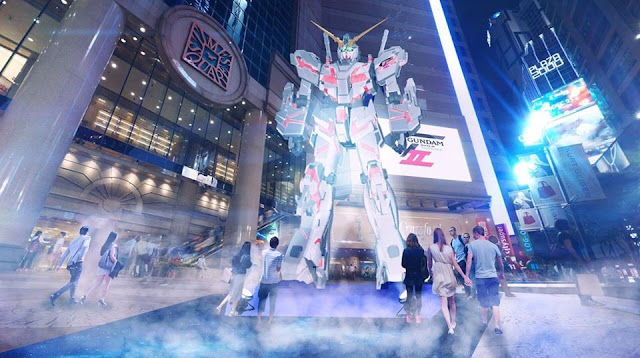 unicorn gundam destroy mode giant statue