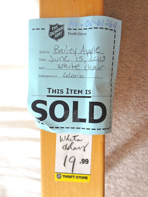 sold sign on salvation army ikea chair