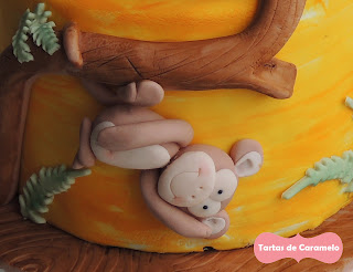 Tarta de animales: detalle mono