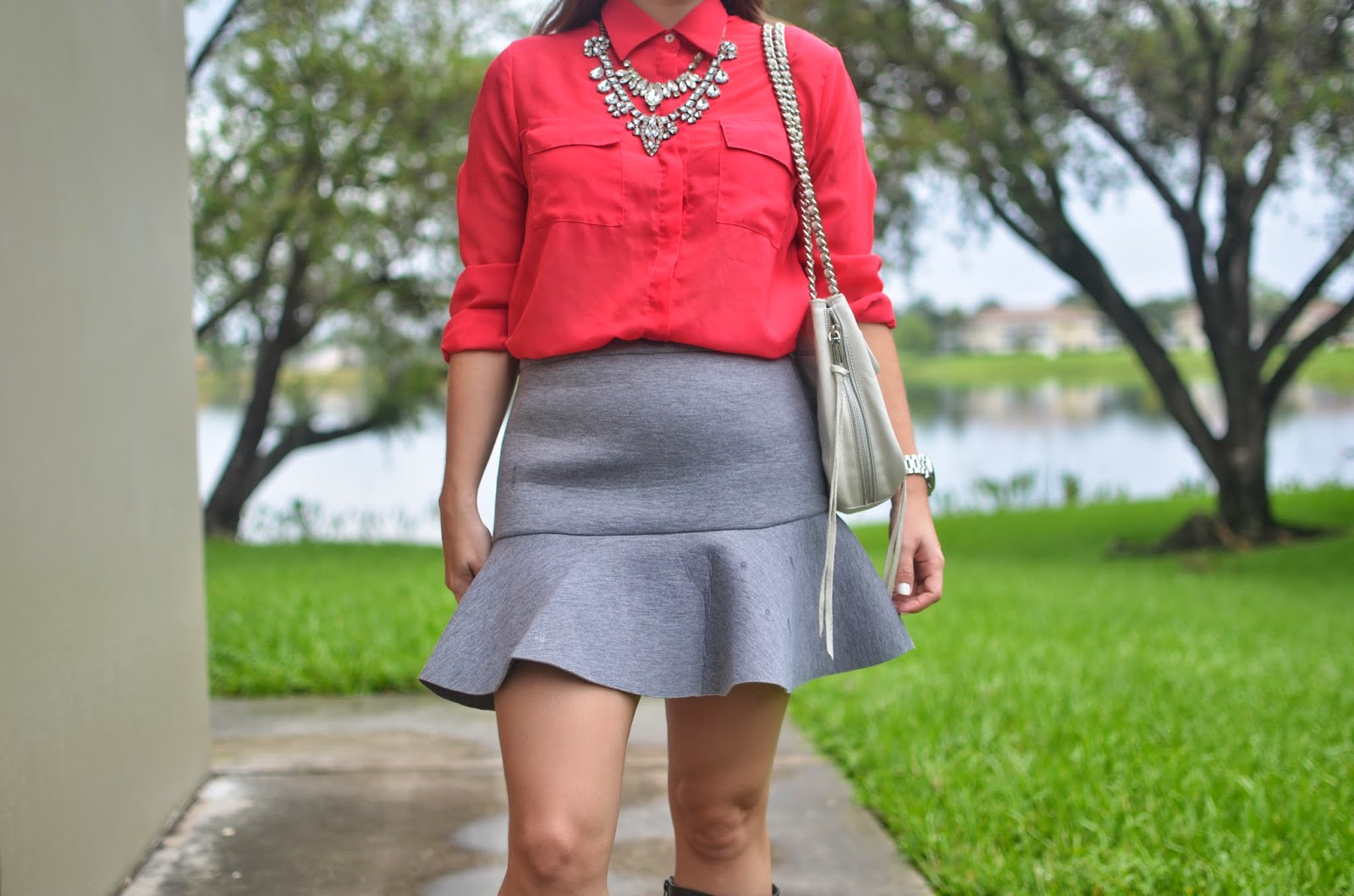 Gray flute skirt - pink chiffon top - gray boots - white bag