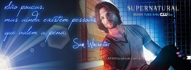 Capa com frase supernatural 9 com Sam Winchester