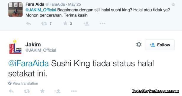 Sushi King tiada status halal
