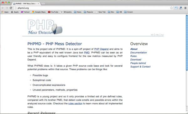 PHPMD adalah alat yang bagus untuk mendapatkan kode sumber dan menemukan kesalahan-kesalahan yang ada di kode
