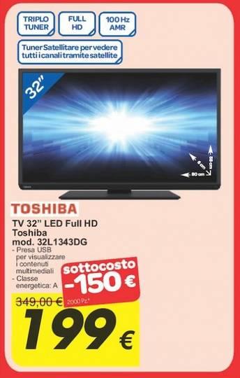 Sottocosto tv 32 pollici toshiba 32l1343dg con triplo for Tv 75 pollici prezzo