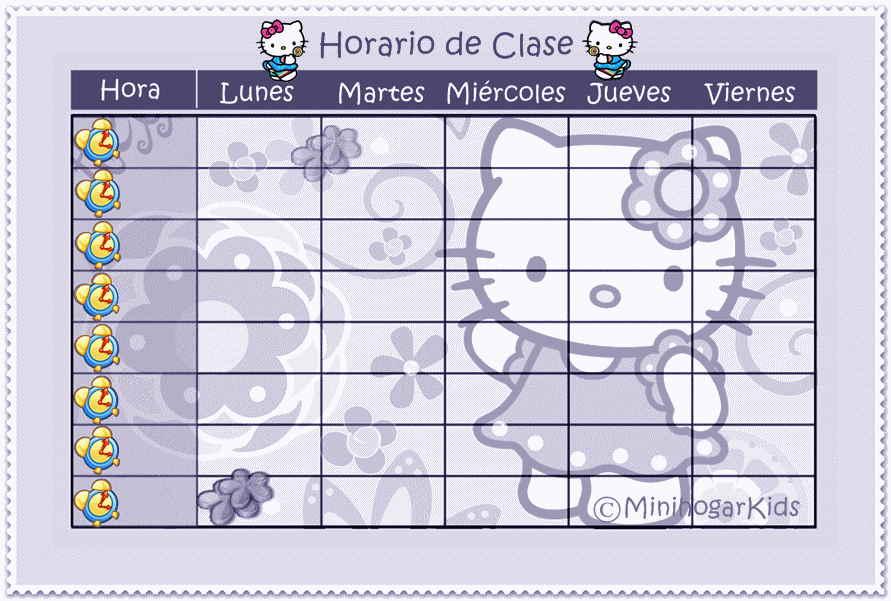 PARA TENER TU HORARIO DE CLASE DE  HELLO KITTY FLORES  Pincha Sobre El
