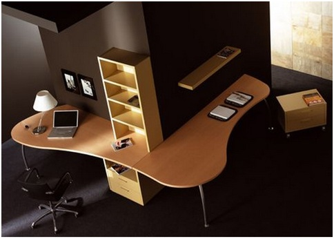Office at home. Desk beside the wall. Wall mounted desk