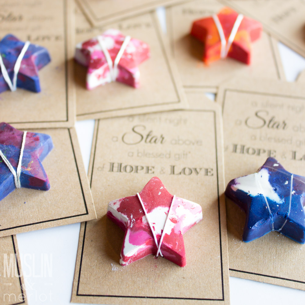 Crayon Stars! And Free Printable Tags! - Muslin and Merlot