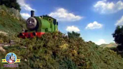 A happy day for Percy and the oil painting artist cheerfully traveled across the Island of Sodor