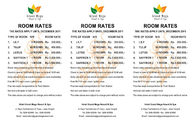Room Rate Grand  Mega Resort Cepu