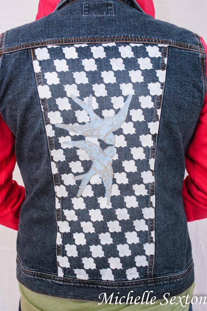 Stencils are the perfect way to add character to a denim jacket - click through and learn more at SoHeresMyLife.com