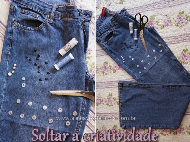 Transformar a calça jeans em short usando tesoura e criatividade